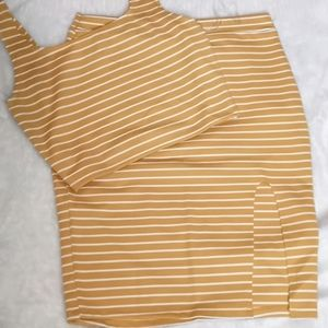 Striped large body con skirt set